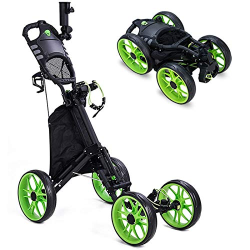 Kingdely 4 Wheel Golf Push Cart, Foldable Golf Trolley with with Umbrella Stand, Foot Brake, Cup Holder, Adjustable Handle, Storage Bag, Scorecard Holder Space, Green