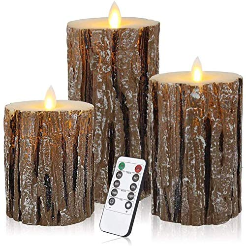 ZHIRCEKE 3 Pcs LED Battery Candles, Flameless Candles with Remote Control and Timer,Birch bark Real Wax Warm Light Candles for Wedding Festival Home Christmas Decoration (Set of 3)