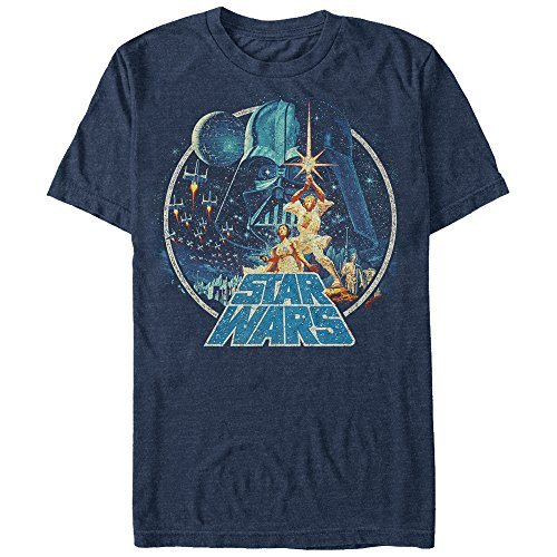 Star Wars Men's Vintage Victory Graphic T-Shirt, Navy Heather, S