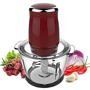 Electric Meat Grinder Machine 500W 220V 1L Stainless Steel Household Electric Food Chopper Mincer Blender Grinder Home Kitchen Food Processor for Meat Fruit Vegetable Glass Bowl