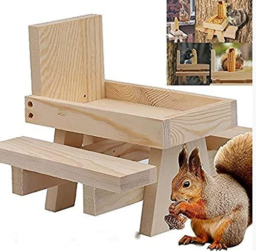 lefeindgdi All items free shipping Squirrel Feeder Table Picnic Inventory cleanup selling sale Wooden Bench