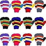 Syhood 12 Paar Toddler Stretch Vollfinger Handschuhe Strickhandschuhe Winter Warm Gestrickte Unisex Kinder Handschuhe für Baby Jungen und Mädchen Lieferungen