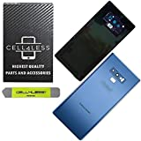 CELL4LESS Compatible Back Glass Door Cover Housing Installed Camera Frame, Lens Adhesive Replacement Samsung Galaxy Note 9 - Any Carrier - N960 (Blue)