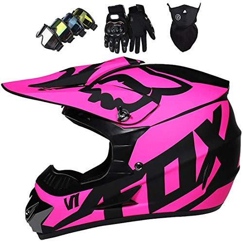 Casco integral MTB, Conjunto de casco de motocross para niños para bicicleta tierra eléctrica Quad Bikes BMX Bicicleta MTB ATV Offroad DH, Casco de moto todoterreno con diseño FOX, Certificación DOT