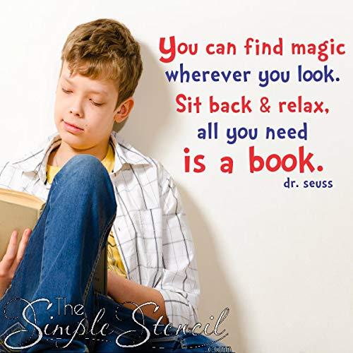 Je vindt magie alles wat je nodig hebt is een boek Dr. Seuss Wall Quote Wall Decals Kids Teen slaapkamer Wall Decals