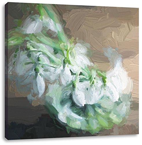 Sneeuwklokjes in de vaasCanvas Foto Plein | Maat: 40x40 cm | Wanddecoraties | Kunstdruk | Volledig gemonteerd