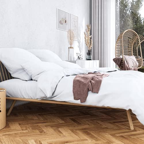 Wolkenfeld Bettwäsche 220x240 Baumwolle weiß - Traumhaft weiche Mako Satin Bettwäsche-Sets - 1x Bettbezug 220x240 cm + 2X Kissenbezug 80x80