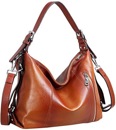 Heshe Vintage Womens Leather Handbags Tote Bag Top Handle Bag Satchel Designer Purses Cross-body Bag (Sorrel)