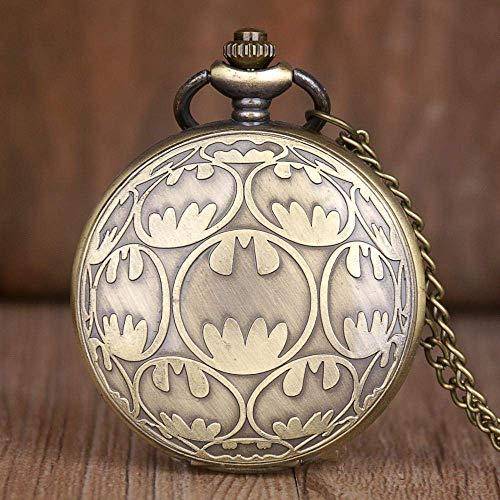 J-Love Relojes de Bolsillo de Bronce Vintage Batman diseño de Cuarzo Reloj de Bolsillo Collar Colgante Reloj Cadena Reloj Regalo para Hombres Mujeres niños
