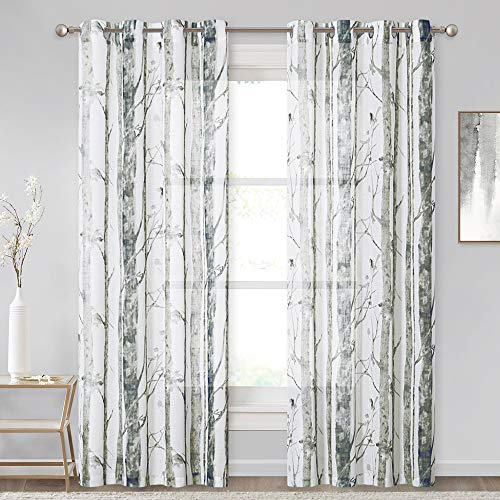 KGORGE Linen Curtain 84 Inch Length - Light Filtering Sheer Panels Tree Branch Botanical Painting Privacy Window Decor for Dining Cafe Sunroom, 1 Pair, W 50 x L 84