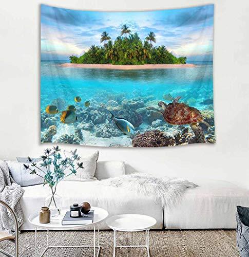 LB Ozean Tapisserie Tropische Insel Wandbehang Tapisserie Meeresschildkröte,Fisch,Koralle,Grüne Palme Wandteppich für Wohnzimmer Schlafzimmer Wohnheim Wand Dekor,150cm Breite x 100cm Höhe