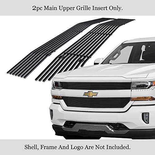 APS Compatible with Chevy Silverado 1500 2016-2018 & Silverado 1500 LD 19 Main Upper Stainless Steel Black 8x6 Horizontal Billet Grille Insert S18-J06366C