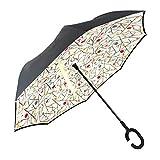 YOKITOMO 長傘 レディース 逆さ傘 丈夫 撥水 内外2枚の布の構成で耐風とUVカット効果更にアップ! 閉じると自立可能 晴雨兼用 車用 (キャンディー)