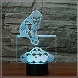 LED Luz noche La noche del LED se enciende/lámpara de mesa de billar 3D Figura 7 Color visual Ilusión acrílico Touch Control regulable USB enciende la lámpara del sueño