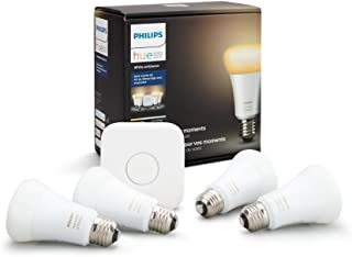 Philips Hue White Ambiance Smart Bulb Starter Kit (4 A19 Bulbs and 1 Hub Works with Alexa Apple HomeKit and Google Assistant)