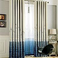 (ラ・デア) La dea 遮光カーテン 北欧デザイン キャッスル柄 遮熱 保温 100*250cmの一枚  (ブルー)