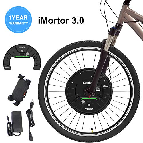 iMortor 3.0 Wireless Electric Bike Front Wheel Conversion Kits 36V 350W Motor & Removable Lithium Battery for Android &iOS,All Bluetooth Versions, 26'x1.95'(MTB/CTB/Cruiser) 700x23c(Road/Leisure Bike)