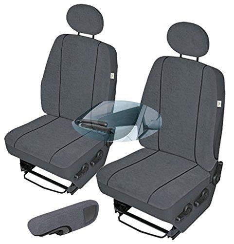 ZentimeX Z752432 Sitzbezüge Set Fahrersitz/Einzelsitz Armlehne rechts + Beifahrersitz/Einzelsitz ohne Armlehnen + Armlehne (Fahrersitz) Stoff dunkel grau
