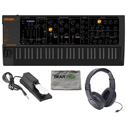 Best Bargain Studiologic Sledge 2 BLACK Synthesizer w/Cleaning Cloth, Pedal, and Heaphones
