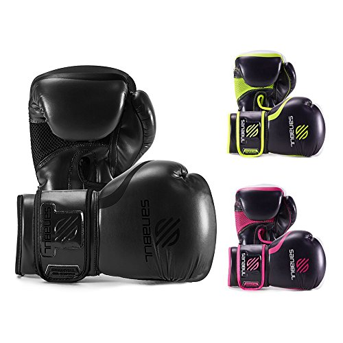 in budget affordable Sanable Essential Gel Boxing Kickboxing Combat / Pocket Gloves (All Black, 16oz)