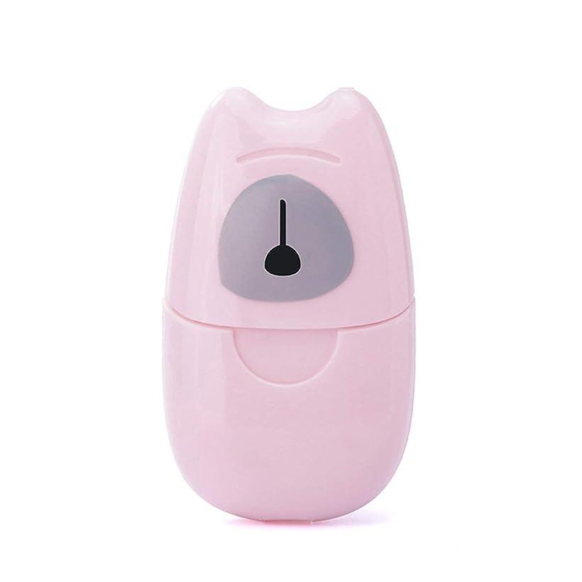 サーマル敬礼粒箱入り石鹸紙旅行ポータブル屋外手洗い石鹸香りスライスシート50ピースミニ石鹸紙でプラスチックボックス - ピンク