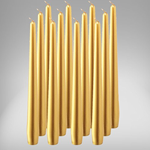 bolsius Spitzenkerzen 245/24 mm 12er Pack Leuchterkerzen Kerze Stabkerzen Gold