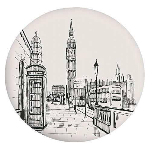 Nappe de table en polyester à bords élastiques - Motif Londres avec Big Ben - Style dessin de ville britannique - Convient aux tables rondes de 101,6 à 111,8 cm - Protection pour votre table - Gris