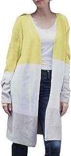 Women's Color Block Open Front Long Sleeve Knit Cardigan Sweaters Coat