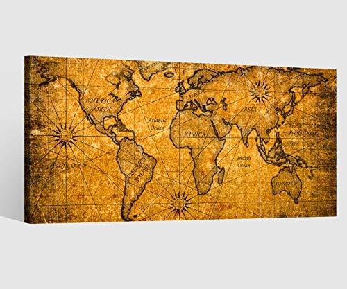 Leinwandbild Leinwand Karte Welt Weltkarte braun antike Landkarte Afrika map alt Bild Bilder...