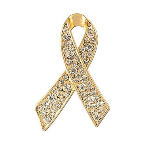 LUOEM Ribbon Strass Brosche Anstecknadel für Frauen Mädchen (Golden)