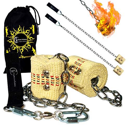 Standard Feuer Poi (2x45mm Docht - Medium Flammen) Fire Poi +Reisetasche. Swinging Poi, Spinning Pois und Feuer Jonglieren für Anfänger und Profis.