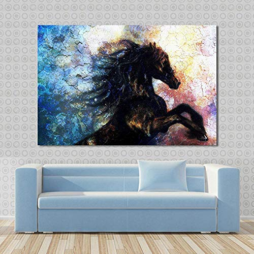 SADHAF Abstract Bunte Springpferd Tierdruck Malerei Leinwand Malerei Wandkunst Wohnzimmer Druck Wandbild A5 60x90cm