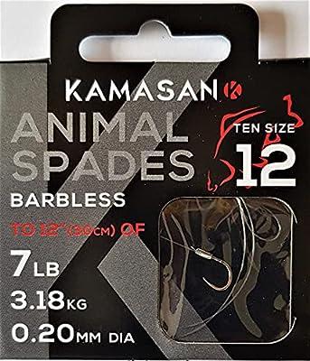 Kamasan Animal Barbless Spade Fishing Hooks To Nylon Size 12 Coarse Carp Tackle