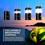 Vont 4 Pack LED Camping Lantern, LED Lanterns, Suitable Survival Kits for Hurricane, Emergency Light for Storm, Outages… 12 Bright & Lasting: Equipped with 30 crazy bright leds, this compact lantern cuts through 360 degrees of darkness on the stormiest, dimmest nights. Easily lights up the entire tent or room. Compact & Lightweight: Collapsible design that reduces or increases the light as you collapse or expand the lantern. When collapsed it's as small as your phone. Easily fits in your backpack or emergency kit. Waterproof: Constructed with aircraft grade materials: your lantern is able to survive a 10-foot drop and being temporarily submerged under water.