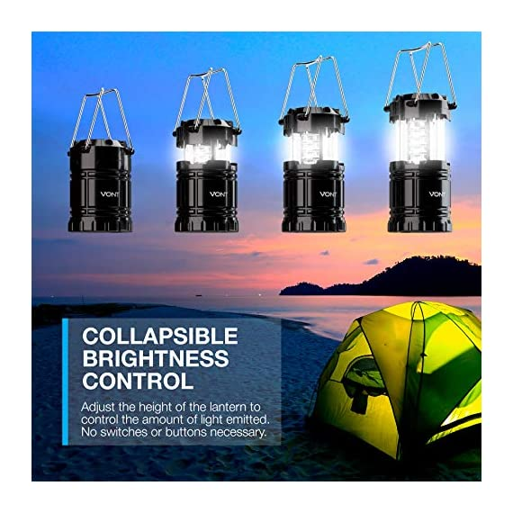 Vont 4 Pack LED Camping Lantern, LED Lanterns, Suitable Survival Kits for Hurricane, Emergency Light for Storm, Outages… 6 Bright & Lasting: Equipped with 30 crazy bright leds, this compact lantern cuts through 360 degrees of darkness on the stormiest, dimmest nights. Easily lights up the entire tent or room. Compact & Lightweight: Collapsible design that reduces or increases the light as you collapse or expand the lantern. When collapsed it's as small as your phone. Easily fits in your backpack or emergency kit. Waterproof: Constructed with aircraft grade materials: your lantern is able to survive a 10-foot drop and being temporarily submerged under water.
