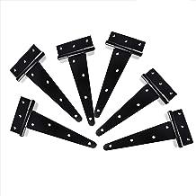 T&B 8inch T-Strap Light Duty Shed Hinge Gate Strap Hinge Door Barn Gates Hinges Black Wrought Hardware Iron Rustproof 6PCS (8inch)