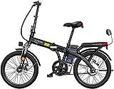 Bicicleta electrica, Bicicleta eléctrica plegable de 20 'con batería de iones de litio de gran capacidad extraíble (48V 250W), 3 modos de equitación, frenos de doble disco Batería eléctrica Batería de