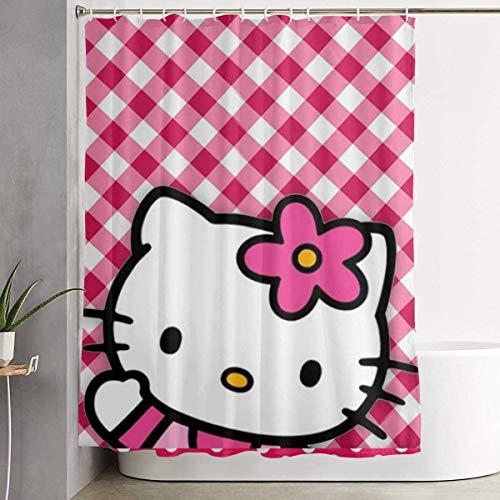 Funny Fabric Shower Curtain Hello Hello Kitty Waterproof Bathroom Decor with Hooks 60 X 72 Inch New Year 2021