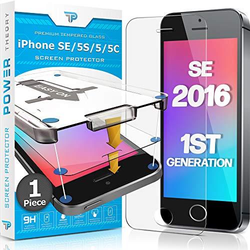 Power Theory Panzerglas kompatibel mit iPhone SE 2016/5s/5/5c - Schutzfolie mit Schablone, Panzerglasfolie, Panzerfolie, Glas Folie, Displayschutzfolie, Schutzglas