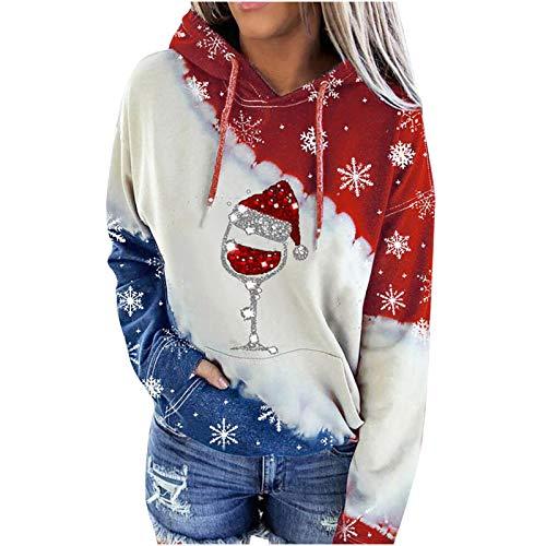 Higlles Pullover Damen Hoodie Damen Oversize Damen Weihnachten Weinglas Schneemann gedruckt Farbblock Kapuze Langarm Pullover Casual Sweatshirt Top