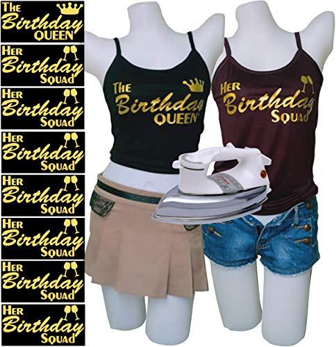 PrinturShirt Birthday Squad Shirts for Women Set - Birthday Team Group Shirts - Iron On Heat Transfer Vinyl, 8pcs, 4 by 9 Inch, Gold - Easy To Use, Savings