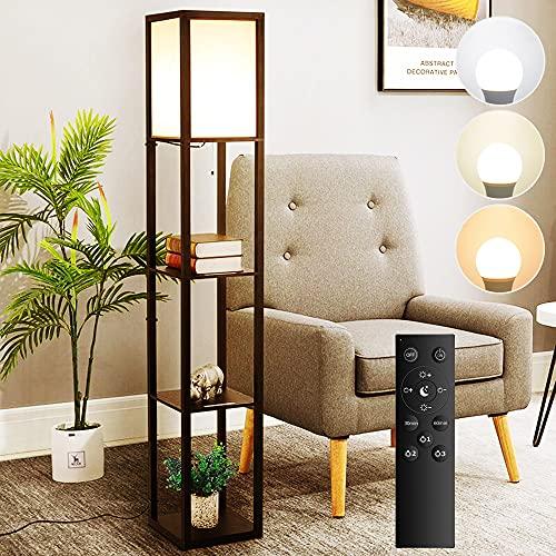 フロアライト スタンドライト フロアスタンド LEDランプ 3段階調色 無階段調光 常夜灯 間接照明 雰囲気 物置台 木製 E26 LED電球付き ナイトライト ベッドサイドライト