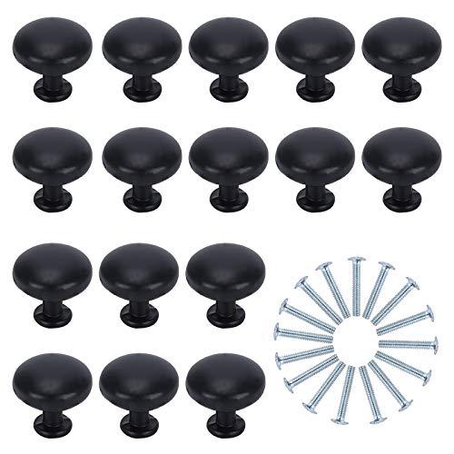ManLee 16pz Negro Pomo de Armario Redondo 30mm Pomos y Tiradores de Muebles Forma de Hongo Perillas de Gabinete Negras de Aleación de Aluminio per Mueble Armario Puerta Manijas con Tornillos