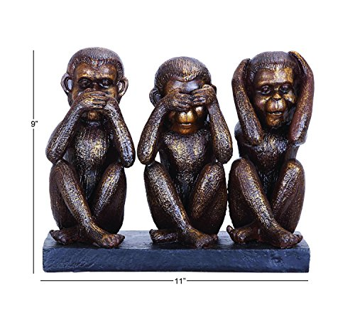 Deco 79 Poly-Stone Monkey, 11 by 9-Inch