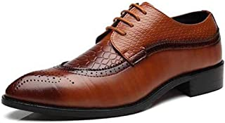 Giles Jones Mens Oxford Shoes Wingtip PU Leather Dress Shoes Pointed Toe Oxfords Shoes