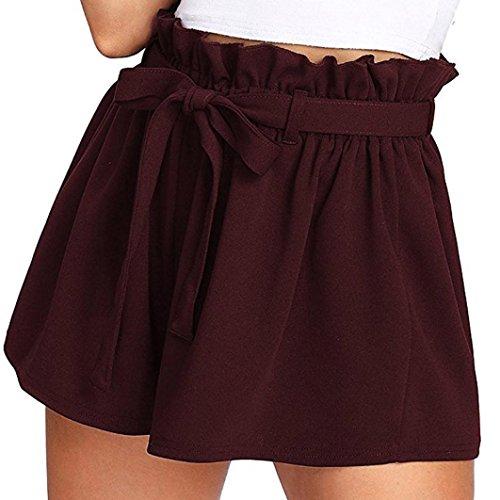Kurze Hosen Damen Sale Luckycat Shorts Damen Sommer Locker Einfarbige Damen Bügel Shorts Hose Sommerhosen Pants Hosen (Weinrot, X-Large)