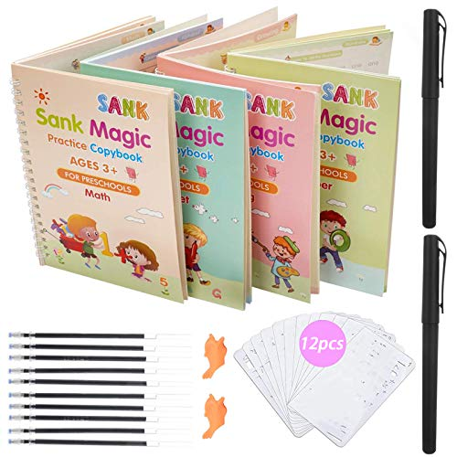 Magic Practice Copybook for Kids, Reusable Handwriting Tracing Copybook for Ages 2-8 Year Kids English Alphabet Letter Exercises, Drawing, Numbers, Math Addition and Subtraction (B with 12 Cards)