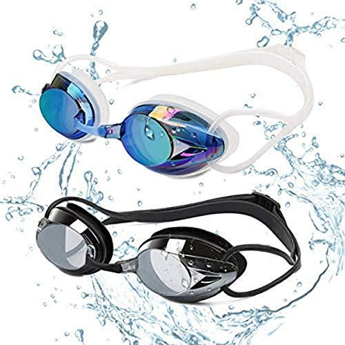 Yimidon Occhiali da Nuoto, Professionali Occhialini da Piscina Anti-Appannamento Specchio Protezione UV Impermeabile, Adatti per Donne, Uomini e Adolescenti, 2 Pack, Blu/Nero