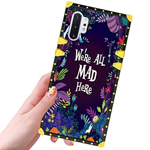 DISNEY COLLECTION Samsung Galaxy Note 10 Plus 5G Case for Women Girls Alice in Wonderland Pattern Design Glitter Luxury Slim Shockproof Bumper Protective Cover for Galaxy Note 10+ 6.8 inch