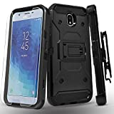 Starshop Full Cover Dual Layers Phone Case Compatible for Samsung Galaxy J7 Pro, With [Tempered Glass Screen Protector Included] And Kickstand and Locking Belt Clip-Black